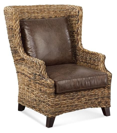 braxton culler sydney wicker wing chair w   leather seat - design interiors