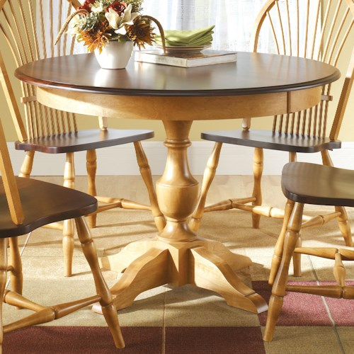 Canadel custom dining customizable round table with for Unique round kitchen tables