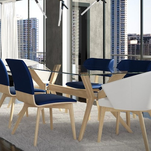 Canadel downtown custom dining customizable glass top dining table broyhill of denver - Dining room furniture denver ...
