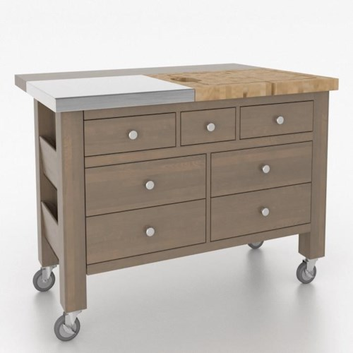 Canadel gourmet customizable kitchen island with removable for Gourmet kitchen islands