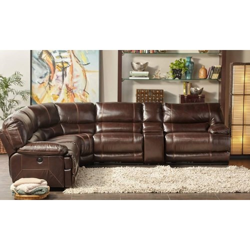Cheers Sofa Collins Leather Power Reclining 6 Piece Sectional Great American Home Store