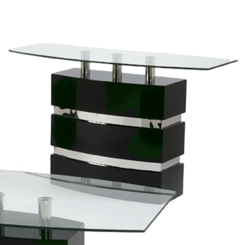 Chintaly imports xenia boat shape glass top sofa table