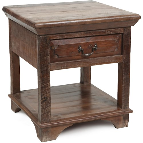Classic Home Cambria End Table With One Drawer One Open