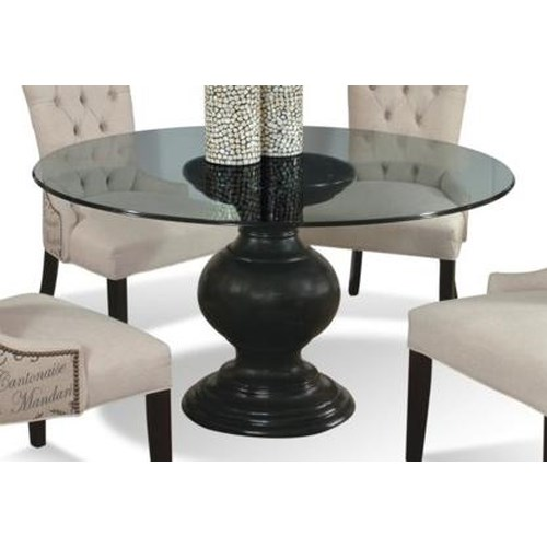 "CMI Serena 60"" Round Glass Dining Table with Pedestal Base ..."
