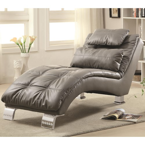 Coaster accent seating padded and upholstered chaise with for Accent traditional chaise by coaster