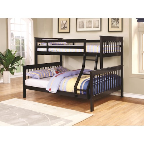 Coaster Bunks Traditional Twin Over Full Bunk Bed Prime Brothers Furniture Bunk Beds Bay