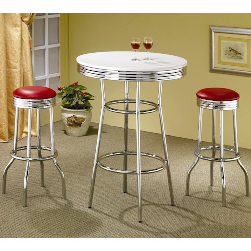 Coaster Cleveland 3 Piece Chrome Plated Bar Set Value City Furniture Pub Table And Stool Set