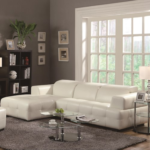 Coaster Carone Contemporary Glam Dining Room Set With: Coaster Darby Contemporary Sectional Sofa With Wide Chaise
