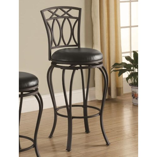 Coaster Dining Chairs And Bar Stools 29 Elegant Metal Barstool With Black Faux Leather Seat