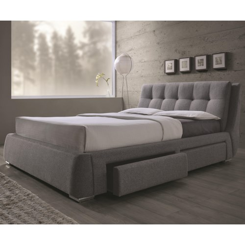 Coaster fenbrook queen upholstered bed with storage for Queen upholstered bed with drawers