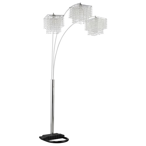 coaster floor lamps arc floor lamp with poly crystal. Black Bedroom Furniture Sets. Home Design Ideas