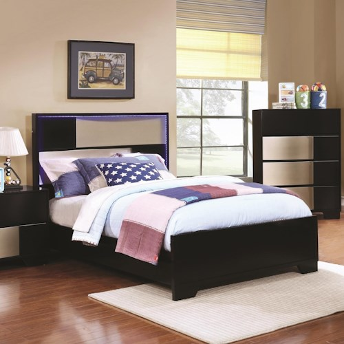 Coaster havering contemporary full bed with led lighted headboard beck 39 s furniture panel - Backlit headboard ...