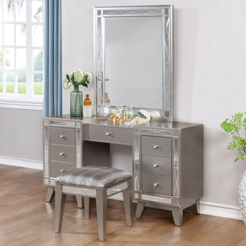 Coaster Leighton Glam Vanity Desk Stool And Mirror Combo Dunk Bright