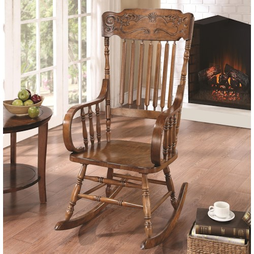 Coaster Rockers Wood Rocking Chair With Ornamental Headrest And Oak Finish Prime Brothers