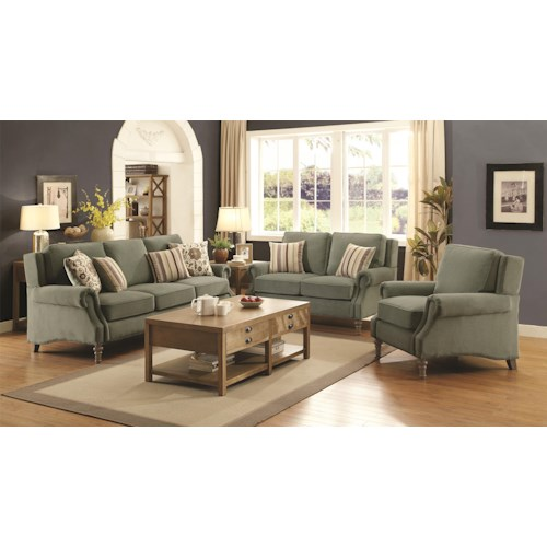 Living room furniture upholstery group coaster rosenberg living room