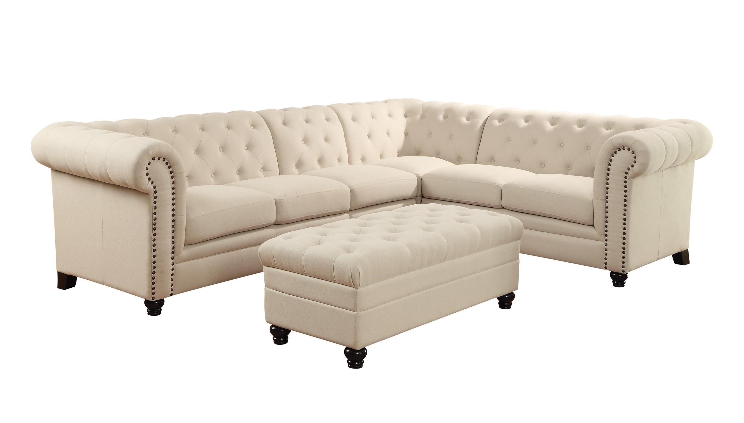Button Tufted Sectional Sofa with Armless Chair Roy by