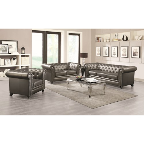 Coaster Roy Stationary Living Room Group Dunk Bright Furniture Stat