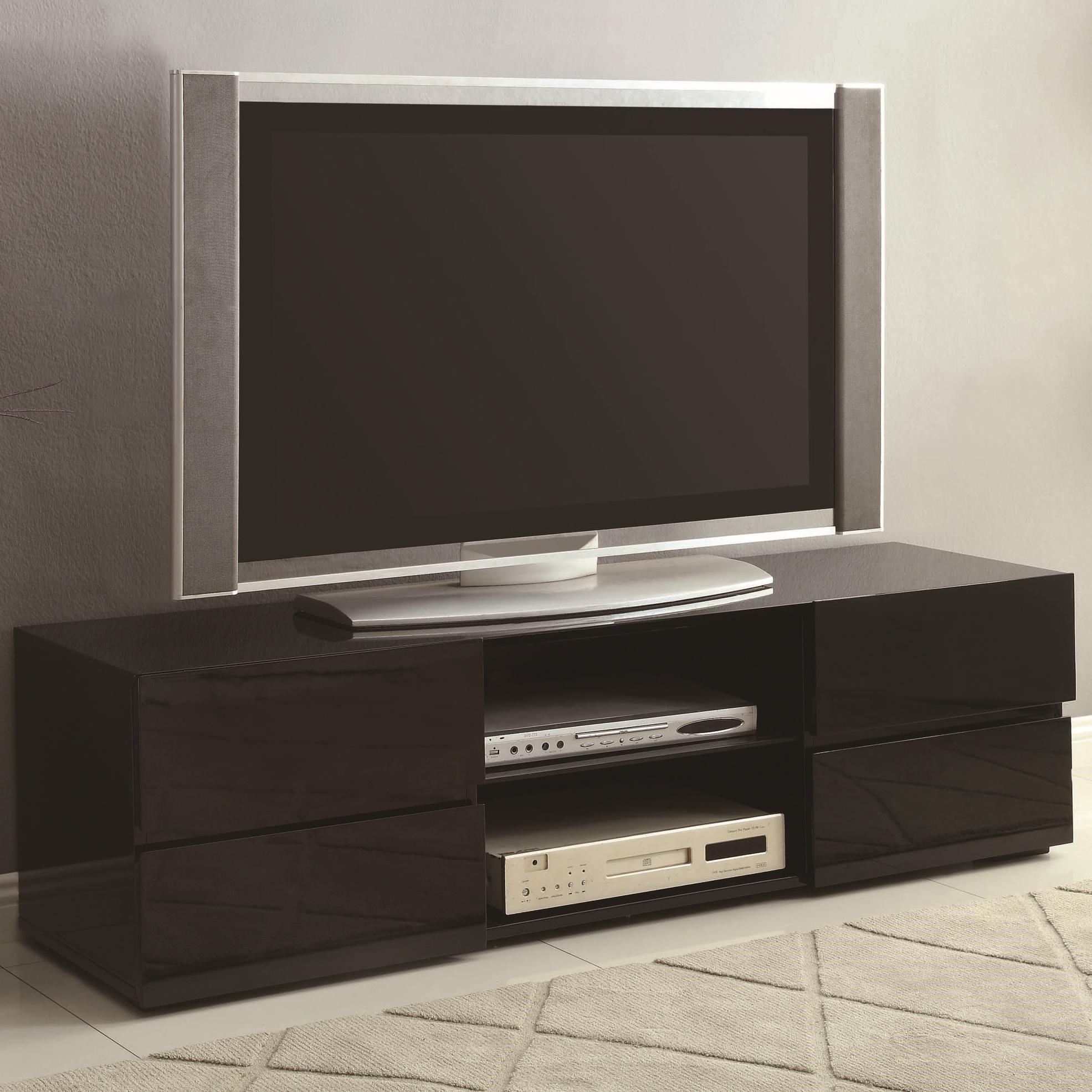 Coaster TV Stands High Gloss Black TV Stand with Glass