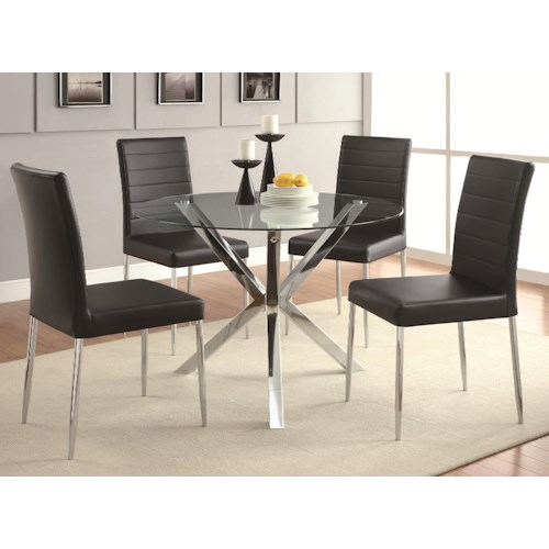 furniture dining 5 piece set coaster vance 5 piece glass top table set