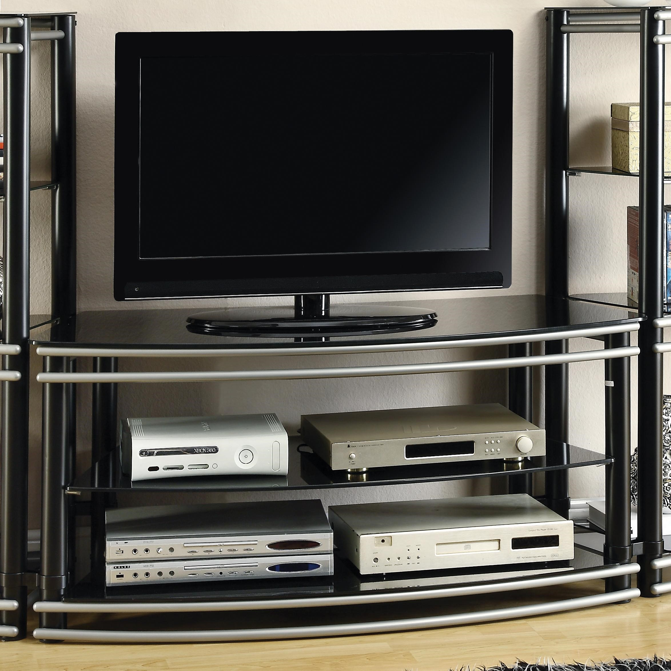 Coaster Entertainment Units Black & Silver Finish Curved
