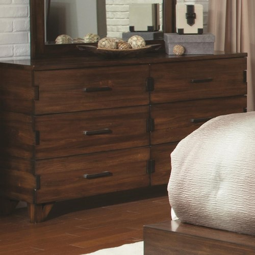 Coaster Yorkshire 6 Drawer Dresser With Exposed Finger Joint Value City Furniture Dressers
