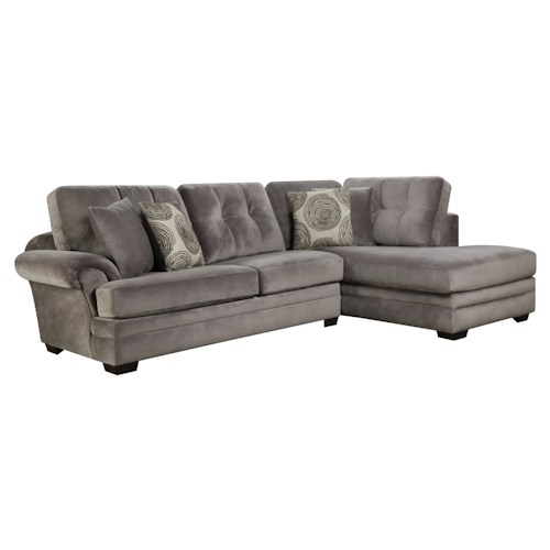 Corinthian 16b0 Small Sectional Sofa With Chaise On Right