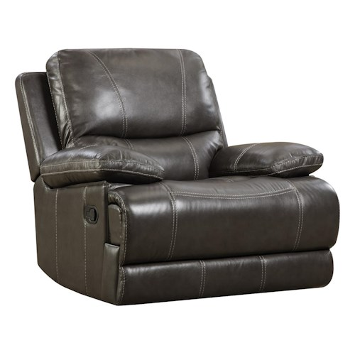 Great Furniture Stores: Corinthian 42801 Brooklyn Charcoal Leather Rocker Recliner