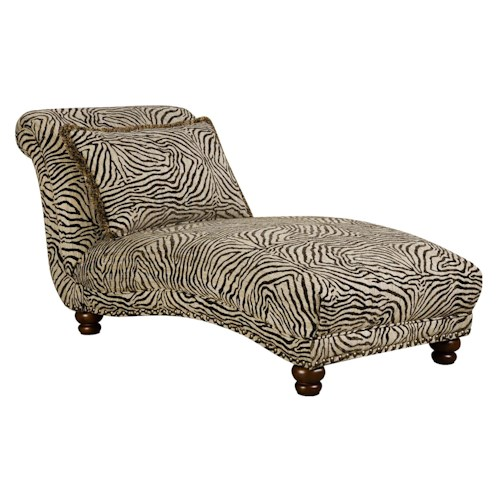 Corinthian 8010 chaise with animal print j j furniture for Animal print chaise