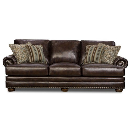 Corinthian 9000 Traditional Rolled Arm Sofa With Nail Head