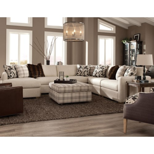 Craftmaster 751100 five piece sectional with laf chaise for 5 piece living room furniture