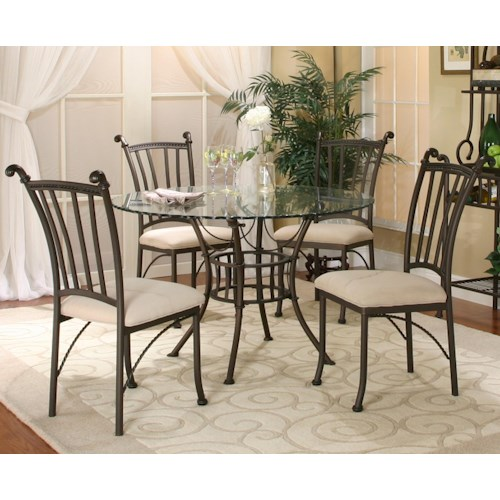 Cramco Inc Denali 5 Piece Round Glass Table With Chairs Royal Furniture