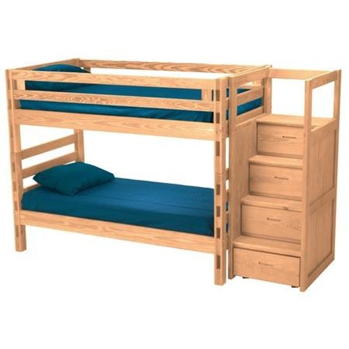 Crate Designs Pine Bedroom Casual Twin Over Twin Bunk Bed With Storage Stairs Jordan 39 S Home