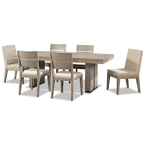Cresent Fine Furniture Larkspur 7 Piece Trestle Table And