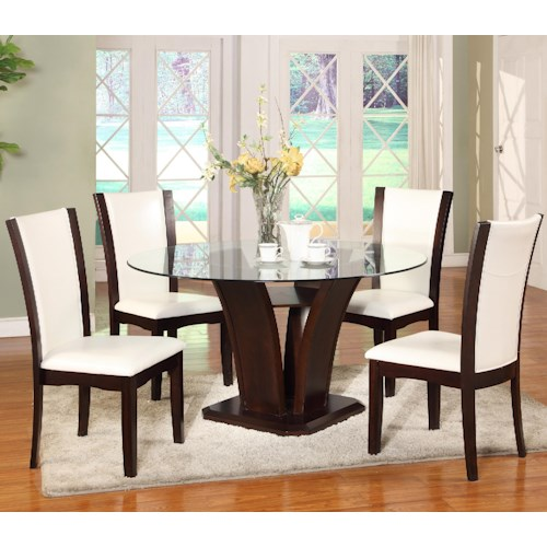 Dining 5 Piece Set Crown Mark Camelia 5 Piece White Dining Set