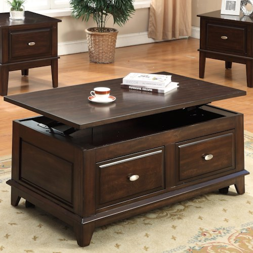 Barrett Trunk Coffee Table With Lift Top: Crown Mark Harmon Lift-Top Coffee Table With Casters