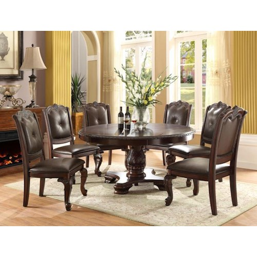 Traditional Round Table With Six Side Chairs Kiera By