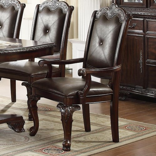 Crown Mark Kiera Traditional Dining Arm Chair With Upholstered Back And Seat Furniture Fair