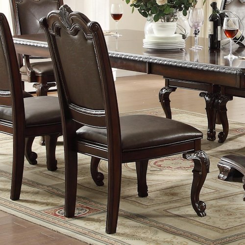 Crown mark kiera traditional dining side chair with for Dining room tables jacksonville nc