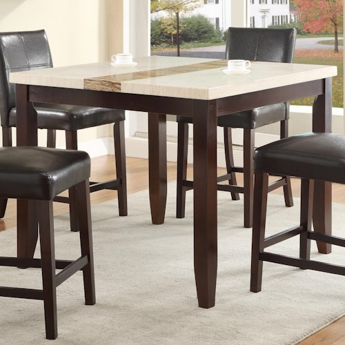 Crown mark larissa square counter height dining table with