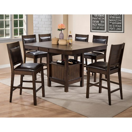 Crown Mark Marlow Counter Height Table And Chair Set With Table Storage Furniture Fair North