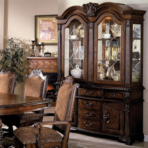 Crown Mark Neo Renaissance Buffet And Hutch With Two Glass Doors Wayside Furniture China Cabinet