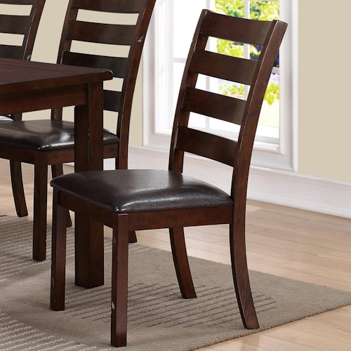 Crown Mark Quinn Side Chair With Ladder Back Design Wayside Furniture Dining Side Chair