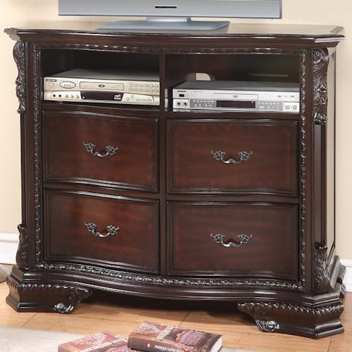 crown mark sheffield media chest with 2 shelves and 4 drawers wayside furniture chest. Black Bedroom Furniture Sets. Home Design Ideas