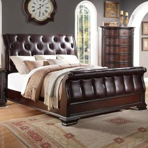 crown mark sheffield upholstered king sleigh bed dunk bright furniture sleigh bed. Black Bedroom Furniture Sets. Home Design Ideas