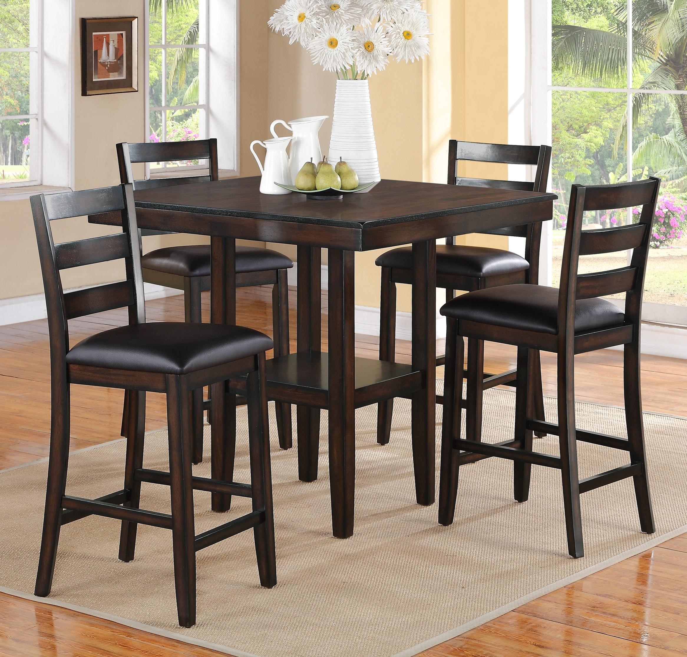 Crown Mark Tahoe 5 Piece Counter Height Table And Chairs