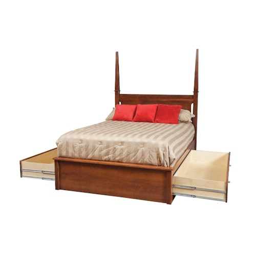 Daniel 39 s amish modern california king pedestal bed w 60 storage drawers on each side pilgrim - Cal king bed with drawers ...