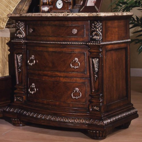 davis direct conventry traditional 3 drawer night stand