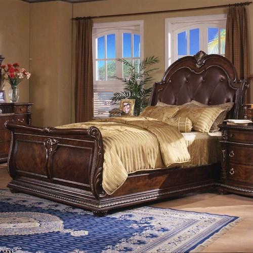 Davis International Conventry Ii Traditional King Sleigh Bed With Button Tufted Bonded Leather