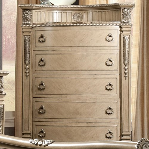 Davis Direct Monaco Traditional Five Drawer Chest With Embossed Gallery And Laminate Marble Top