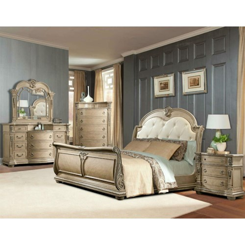 Direct Bedroom Furniture: Davis Direct Monaco Queen Sleigh Bed, Dresser, Mirror